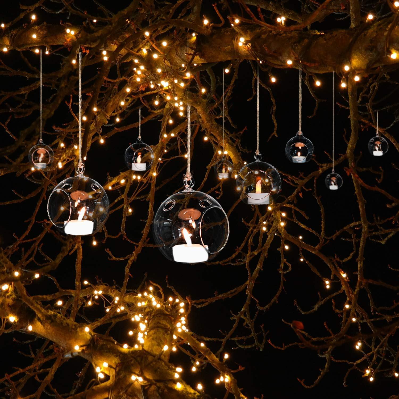 d/écoration de bougie au restaurant du mairage romantique Bougeoir Decoratif boule en verre d/écoration /à la maison 18Pcs//set 80mm Boules De Verre Creatives Bougies /à Suspendre en Verre
