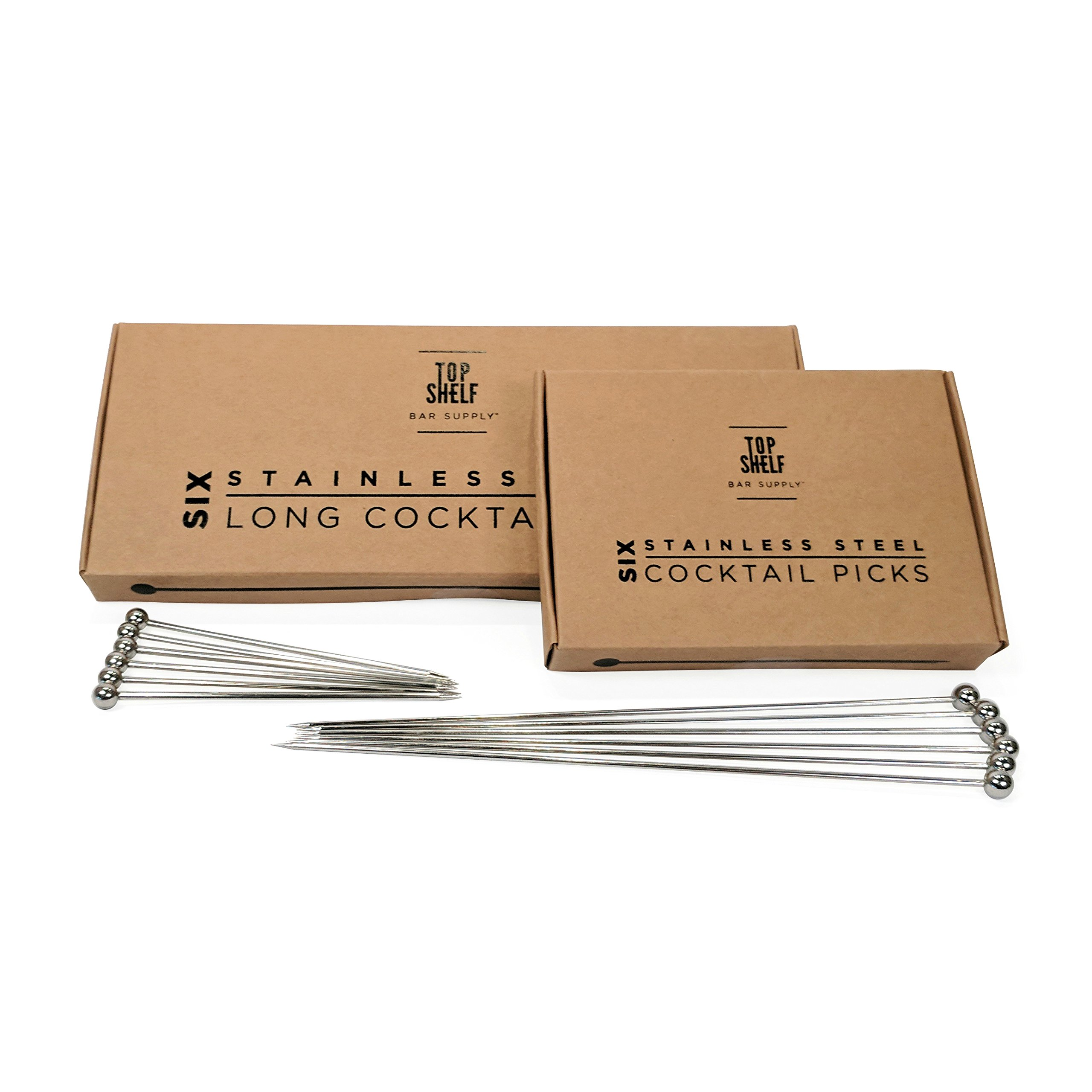 Stainless Steel Cocktail Picks Combo Pack - (6pc of each 4'' and 8'' picks)