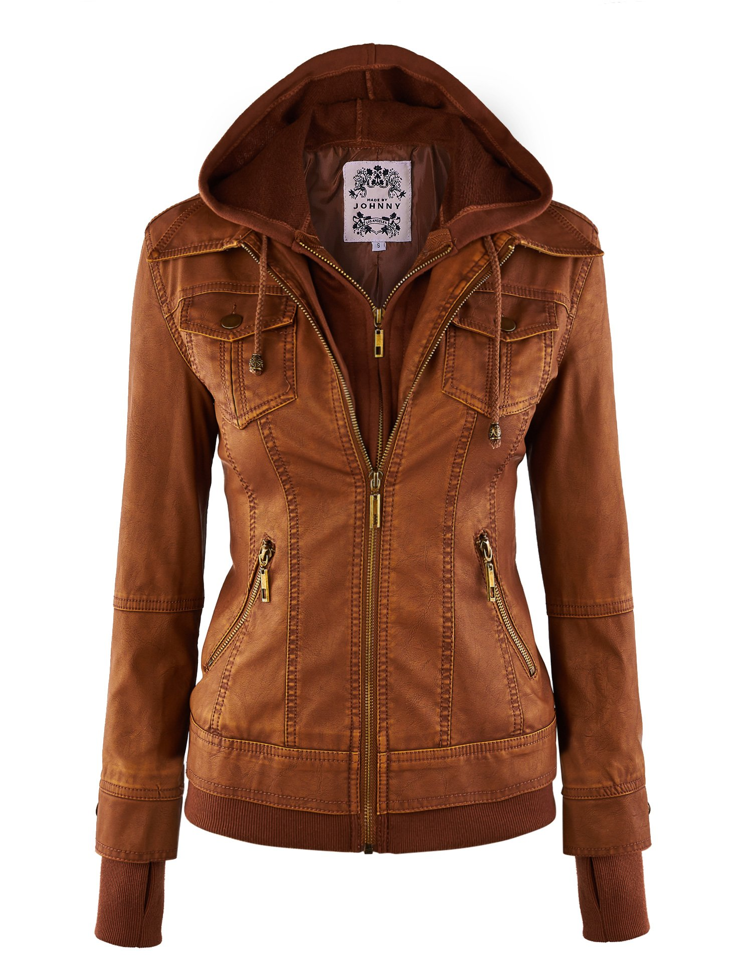 Made By Johnny WJC664 Womens Faux Leather Jacket with Hoodie L CAMEL by Made By Johnny