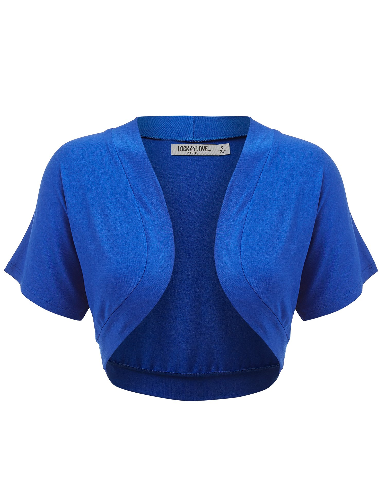 WSK1785 Womens Short Sleeve Shrug Open Cardigan XL Royal_Brite