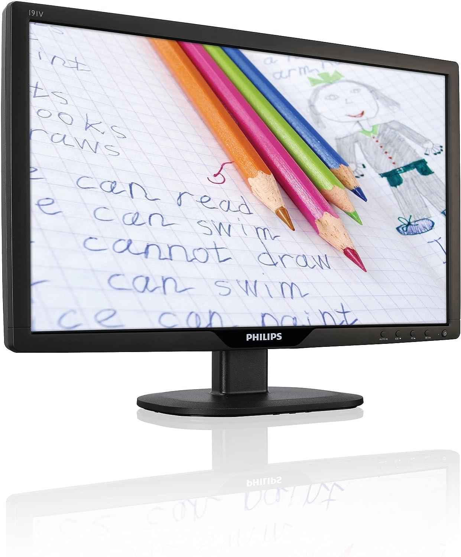 Philips 191V2SB/00 Monitor LCD con SmartControl Lite, 18,5 Pulgadas, 5 ms, 300.000:1, Negro: Amazon.es: Informática
