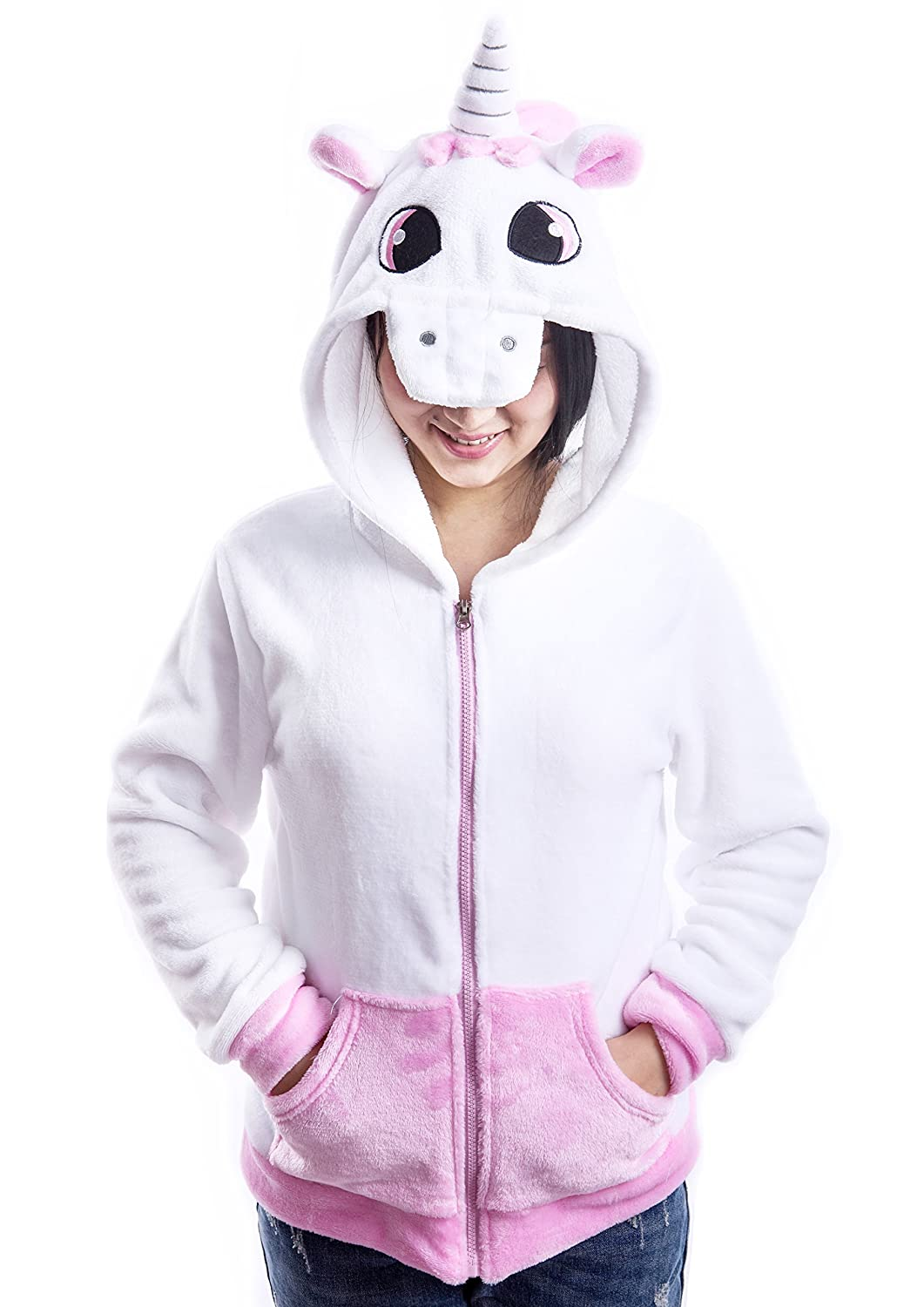 AooToo Costume Hoodies Cute Juniors Kids Cartoon Unicorn Flannel Zipper Jackets 20171006001000