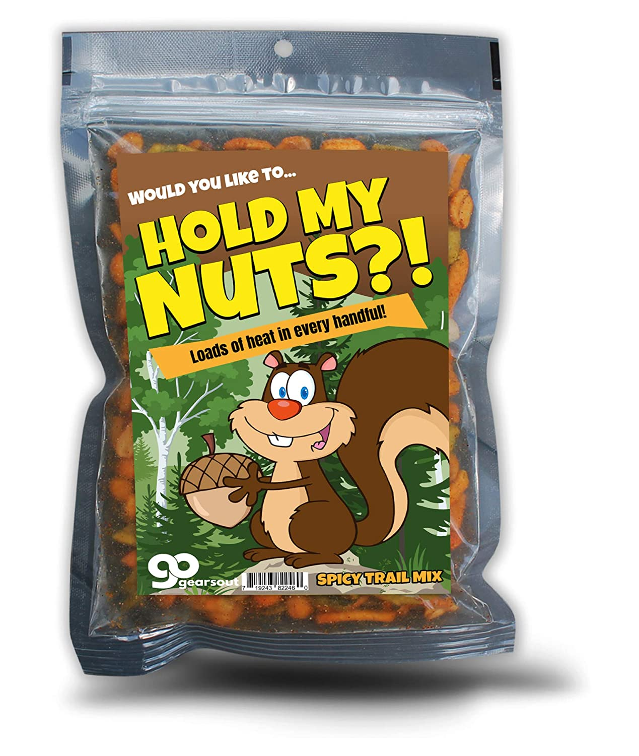 Hold My Nuts Spicy Trail Mix - Funny Squirrel with Acorn Design - Spicy Snacks for Men and Women - Premium Blend, Made in the USA