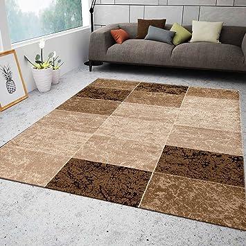 VIMODA Teppich Wohnzimmer Kurzflor Modern Meliert Kariert Marmor Muster Braun  Beige, 160x230 Cm