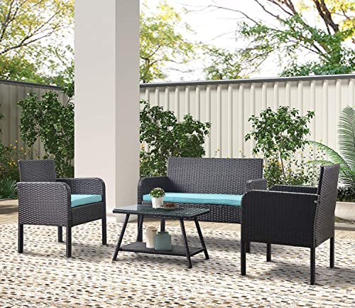 Teeker 4 Piece Rattan Sofa Seating Group with Cushions, Outdoor Ratten Sofa Blue