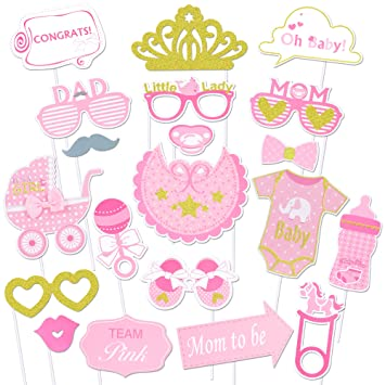 Konsait Baby Shower Photo Booth Props, bebé Ducha Cumpleaños Cabina de Fotos con Accesorios Photocal Biberón Máscaras Gafas para Niños niñas Regalo ...