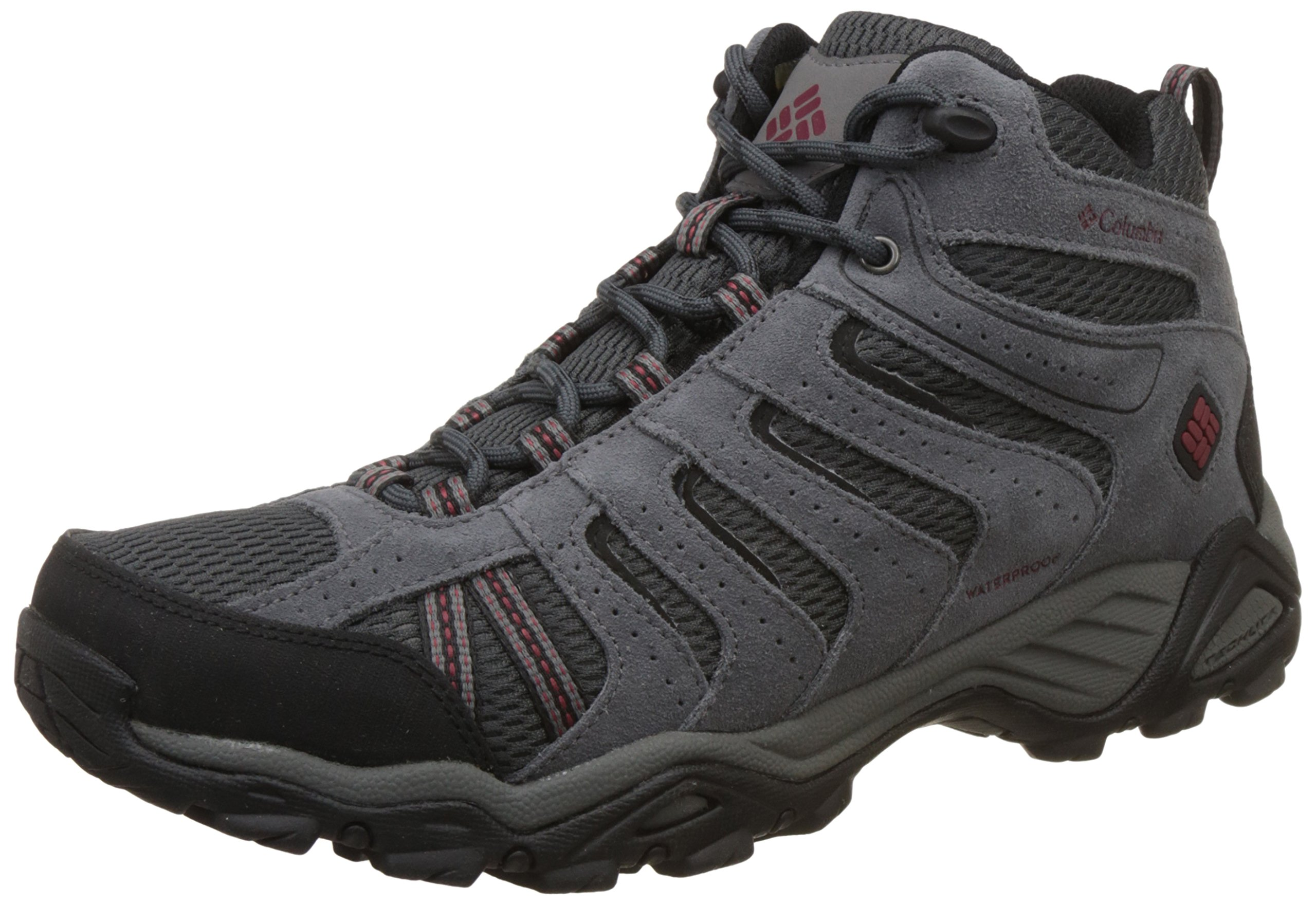 Columbia Men's North Plains Ii Waterproof Mid Hiking Boot, Dark Grey, Garnet Red, 8 D US