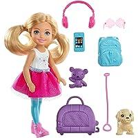 Barbie Seyahatte Chelsea ve Aksesuarları, Köpek Dahil, 3-7 Yaş Arası İçin FWV20
