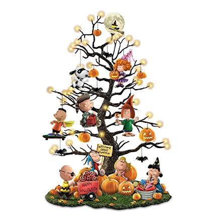 peanuts its the great pumpkin illuminated halloween tabletop tree with lights by the bradford exchange