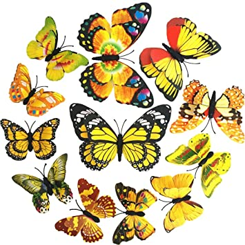 Amazon.com: Butterfly Wall Decor 3D Sticker Room Decal by BECOR ...