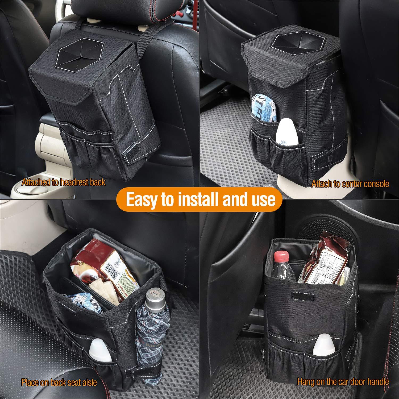 Impermeabile Cestino per Spazzatura per Auto Pattumiera con Tasca Laterale e Copertina Auto Cestino Spazzatura