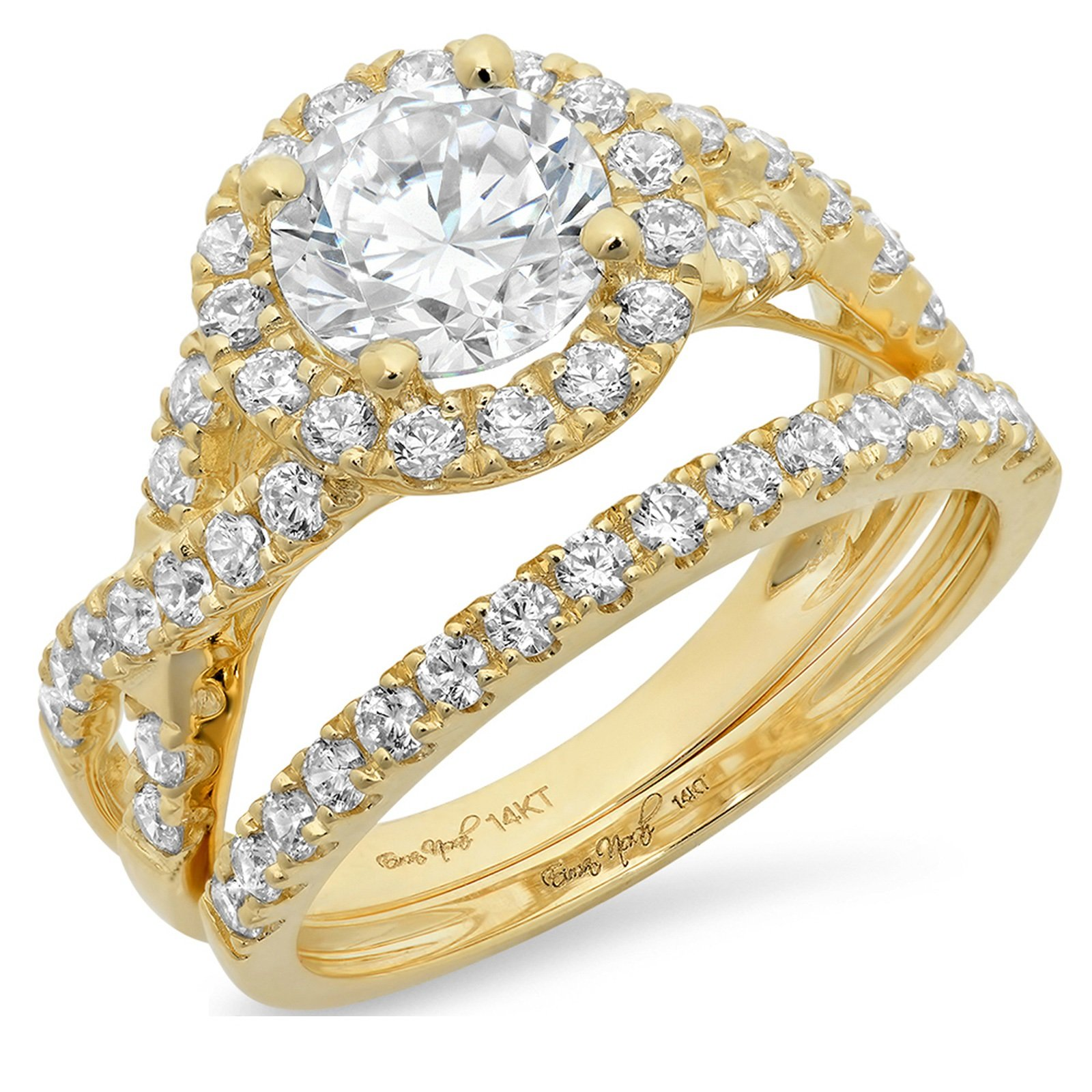 2.6 Ct Round Cut Pave Halo Engagement Wedding Bridal Anniversary Ring Band Set 14K Yellow Gold, Size 7, Clara Pucci