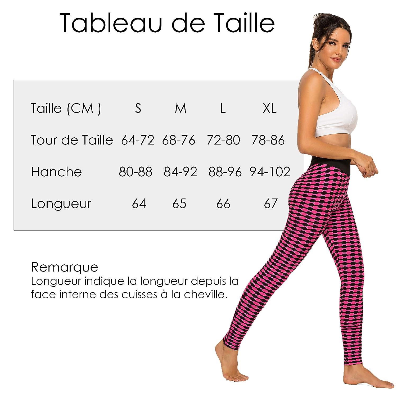 FITTOO Leggings de Sport Femme Anti-Cellulite Pantalon de Fitness Collant de Compression Taille Haute Slim Push Up Butt Lifter Pants Yoga pour Gym Jogging