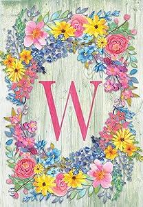 "Briarwood Lane Spring Monogram Letter W Garden Flag Floral Wreath 12.5"" x 18"""