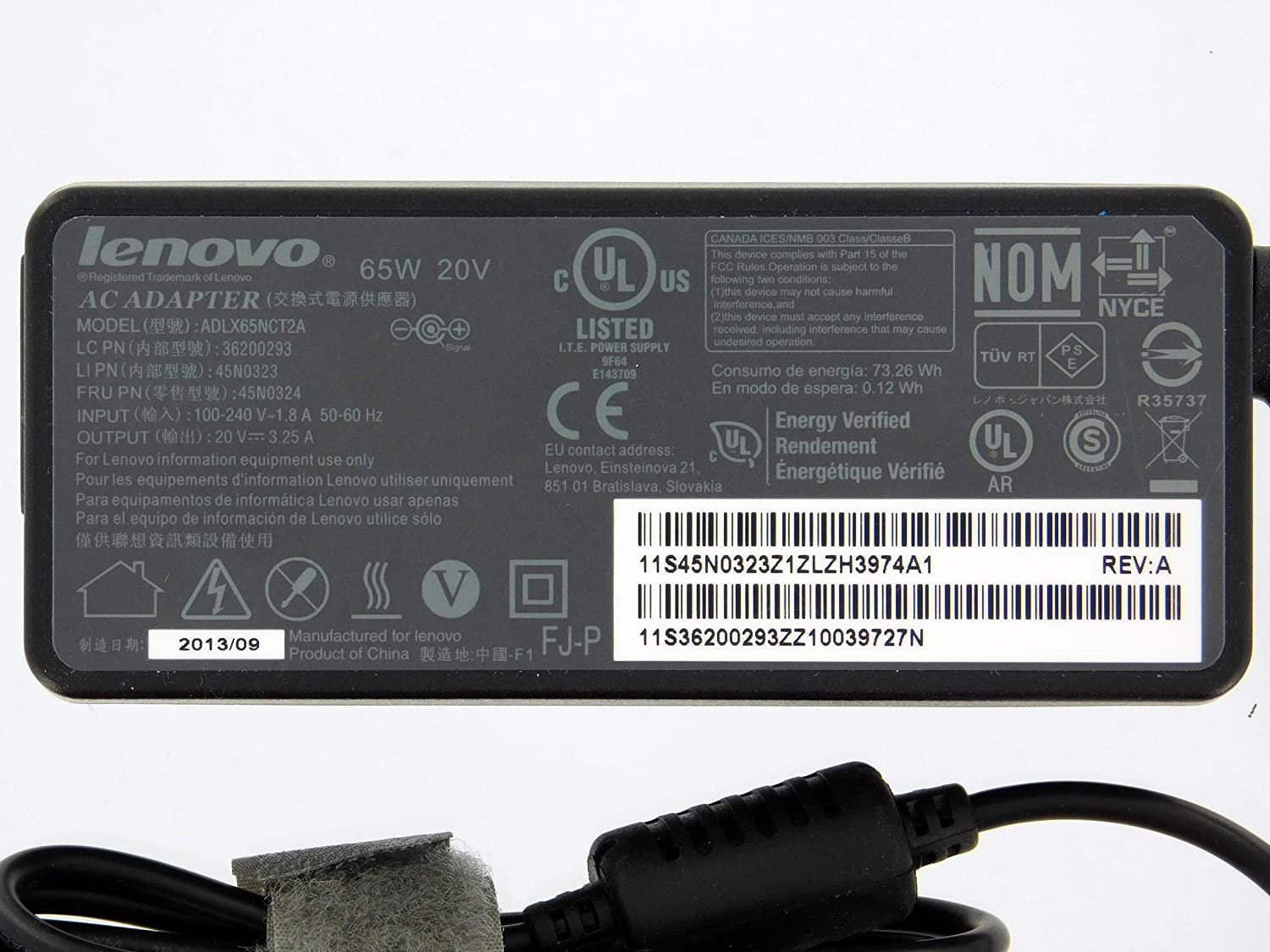 Amazon.com: Original OEM Lenovo 45N0121 Fru PN: 45N0122 65W 20V 3.25A Notebook Ac Adapter: Electronics