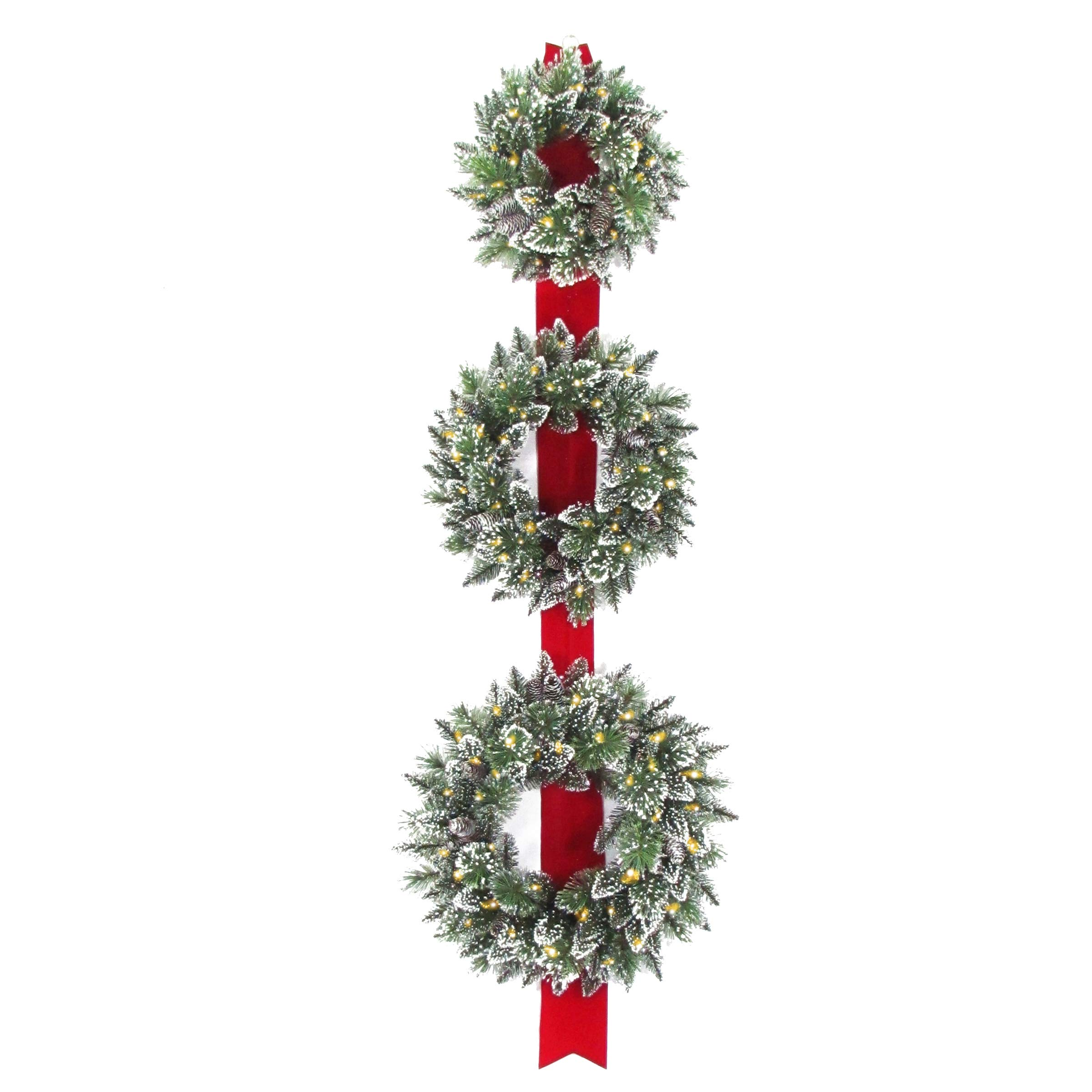 National Tree Set of 3 Wreath Door Décor Piece with 100 Warm White Battery Operated Twinkle LED Lights (GB1-300LT-18W-B)