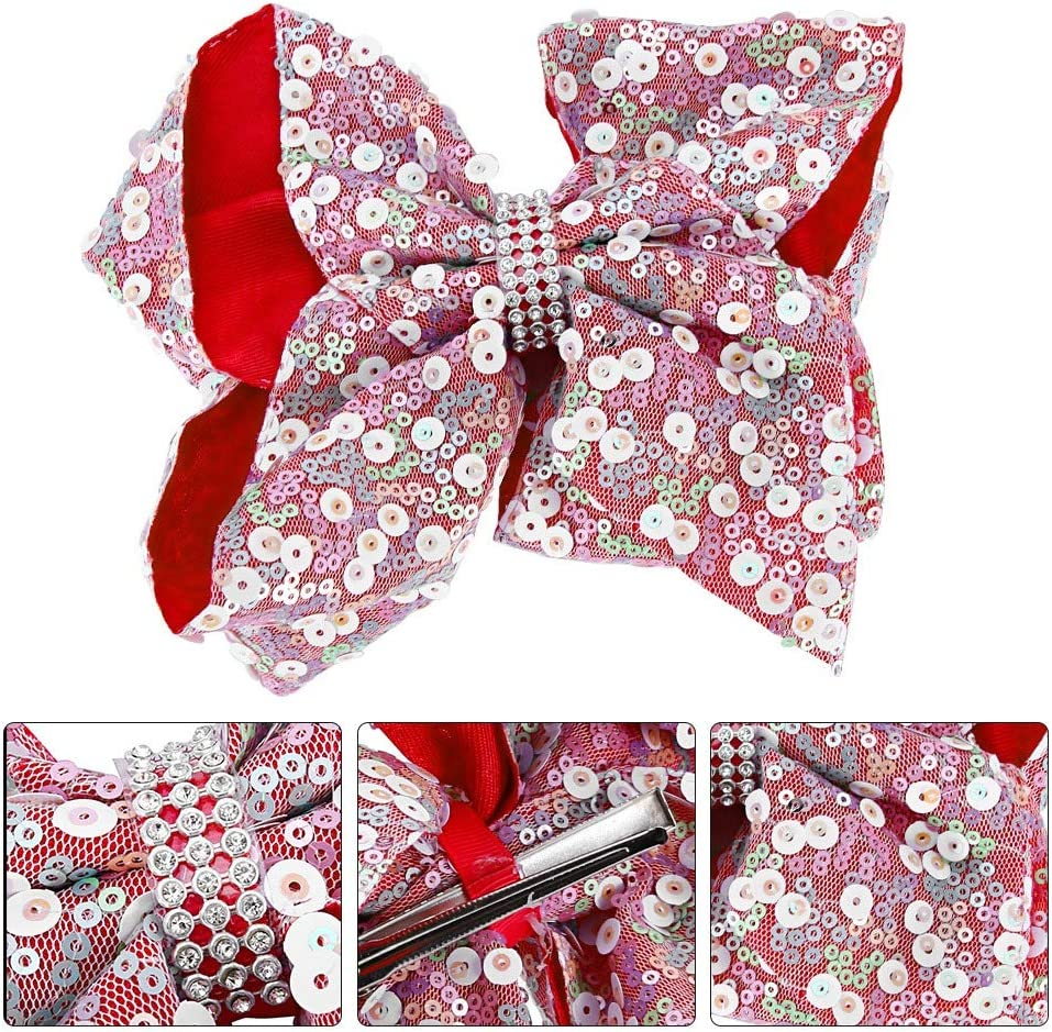 Navy Blue Baby Sequined Hair Bow Little Girls Sparkling Bows Clip Glitter Sequins Hairpin for Toddler Party Festival