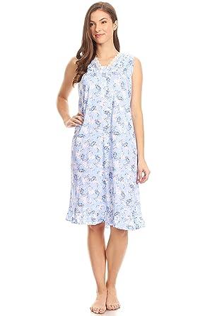 Pink Label 00112 Women Pajamas Night Gown Sleepwear Night Shirt (Blue 349431c06