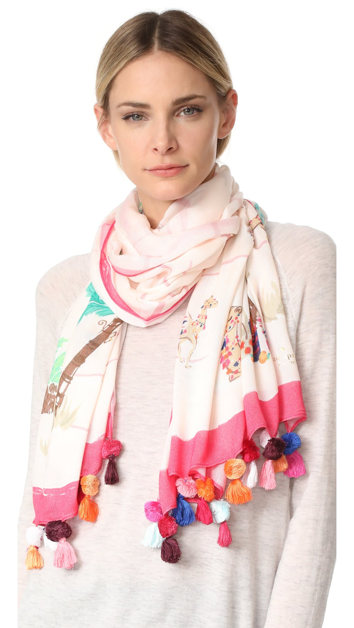 Kate Spade New York Women's Desert Oblong Scarf, Pink Sand, One Size
