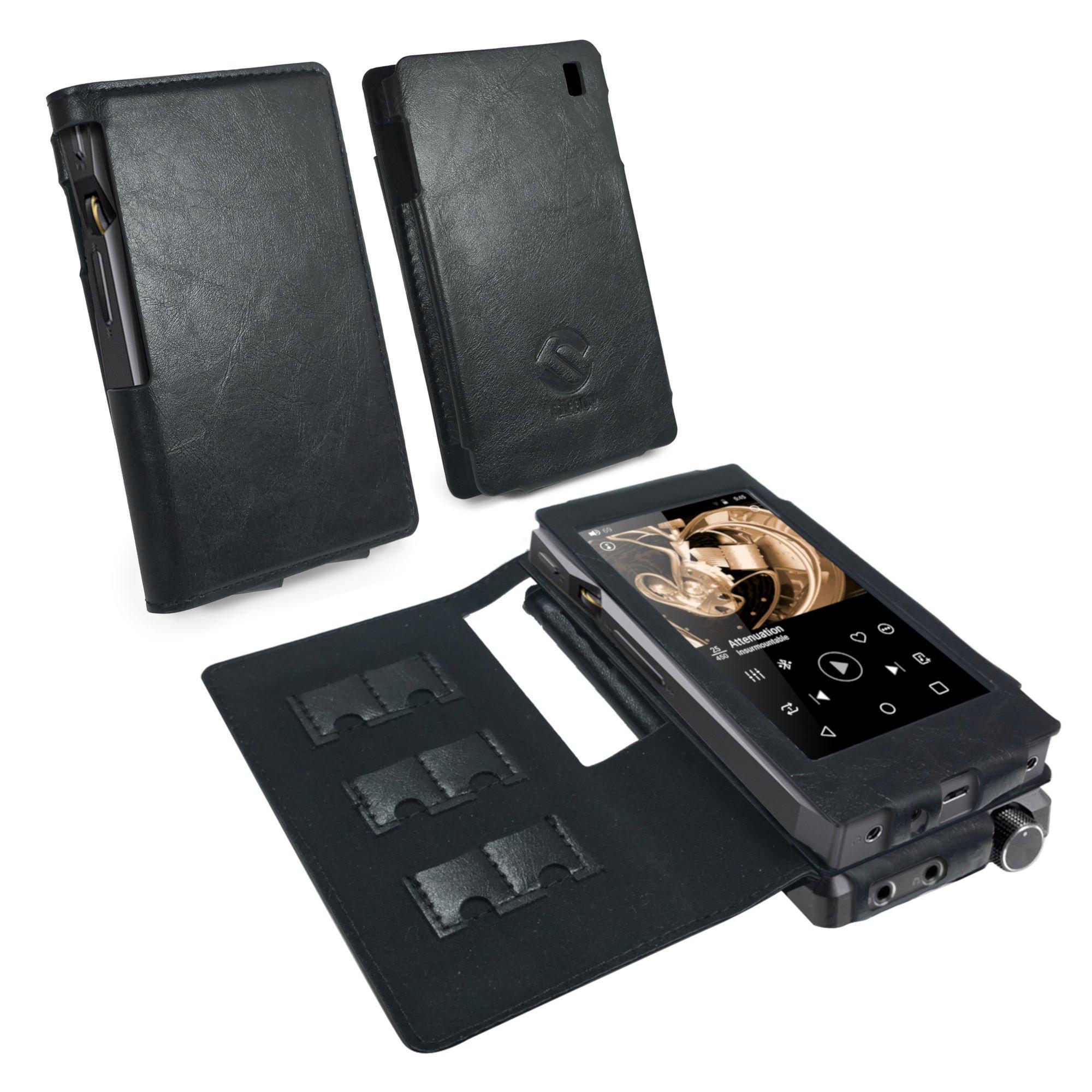 Tuff Luv Faux Leather Case Cover for FiiO X5 iii 3rd Gen & A5 / E12 Amp (V1.2) - MP3 - Black
