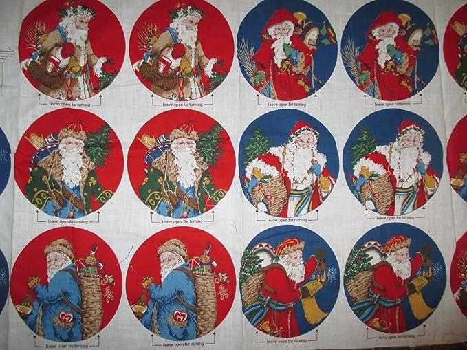 Amazon.com: Father Christmas Ornaments Fabric Panel - 1980s - Makes ...