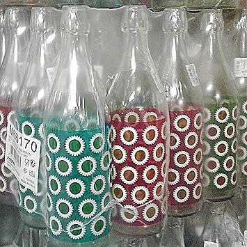 Botella Cristal Cerve Lory Daisy Agua de 1 litro (100cl) elegante con tapón mecánico hermética para agua aceite bebidas conserva cóctel: Amazon.es: ...