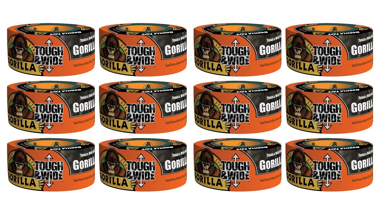 Gorilla Tape, Black Tough & Wide Duct Tape, 2.88'' x 30 yd, Black, (Pack of 12)