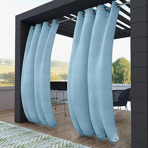 132x305cm Azul Cielo Cortinas para Exteriores con Ojales, Resistentes al Viento, Resistentes al Agua, Resistentes a la harina, para jardín, balcón, casa de Playa, vestíbulo, Cabana: Amazon.es: Jardín
