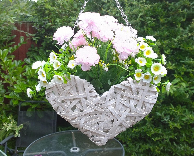 Artificial Flowers Wicker Heart Hanging Basket Pink and White, Flowers, Flowers , Basket and Bark Eternal Bloom