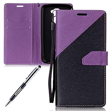 Funda LG K10, Carcasa Cuero LG K10, JAWSEU LG K10 LTE 4G K420N K430 K430DS K410 / LG M2 Tapa Trasera Carcasa Color de Contraste Diseño Empalme Cuero ...