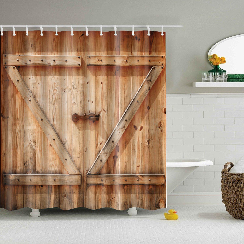 yumian rústico granero granja cobertizo puertas país cortina de ducha impermeable tela puro Decor: Amazon.es: Hogar