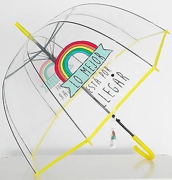 Paraguas Transparente de Mujer. Paraguas Automático de Mujer con un arco Iris y la frase