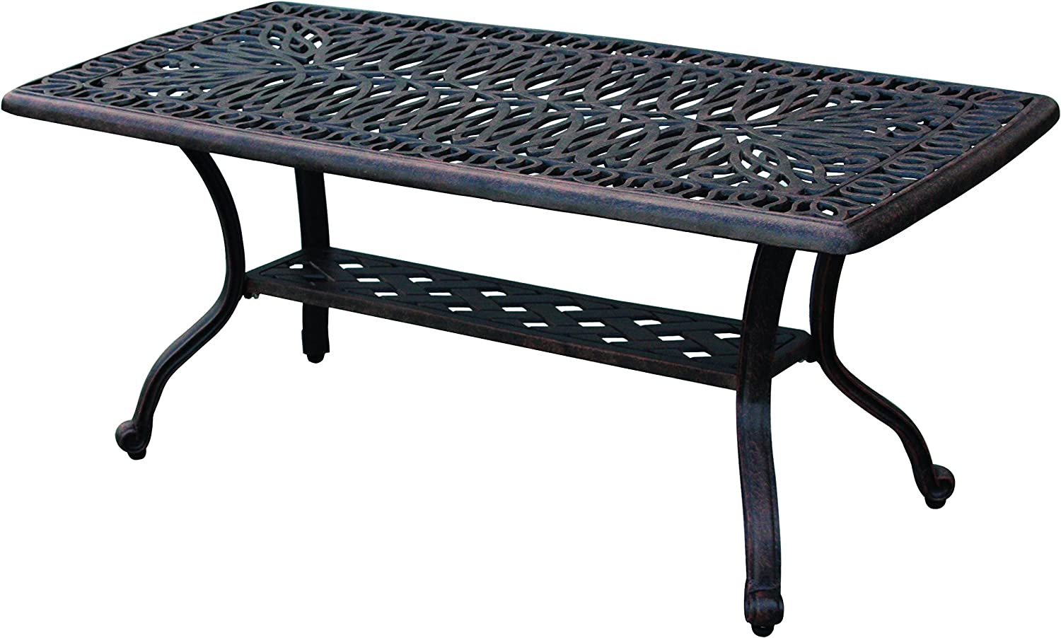 Darlee Elisabeth Cast Aluminum Rectangular Coffee Table, 21 x 42 Antique Bronze Finish