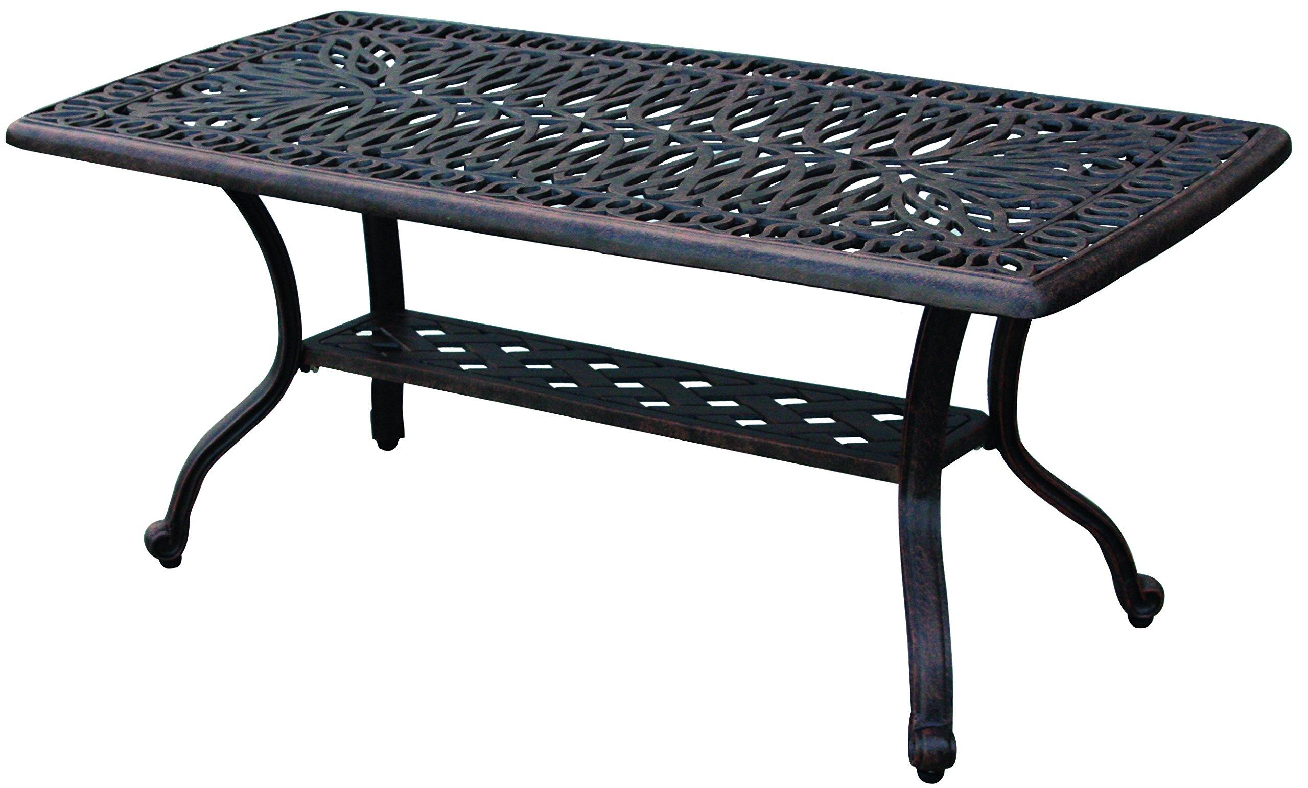 Darlee Elisabeth Cast Aluminum Rectangular Coffee Table, 21'' x 42'' Antique Bronze Finish