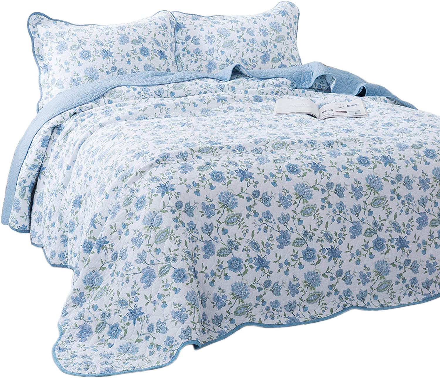 KASENTEX 3 Piece Quilt Set - Contemporary Oversized Bedding with Country-Chic Floral Printed Design, 100% Cotton Soft & Warm Reversible Bedspread (Blue, Queen + 2 Shams 102x106+20x26 x2)