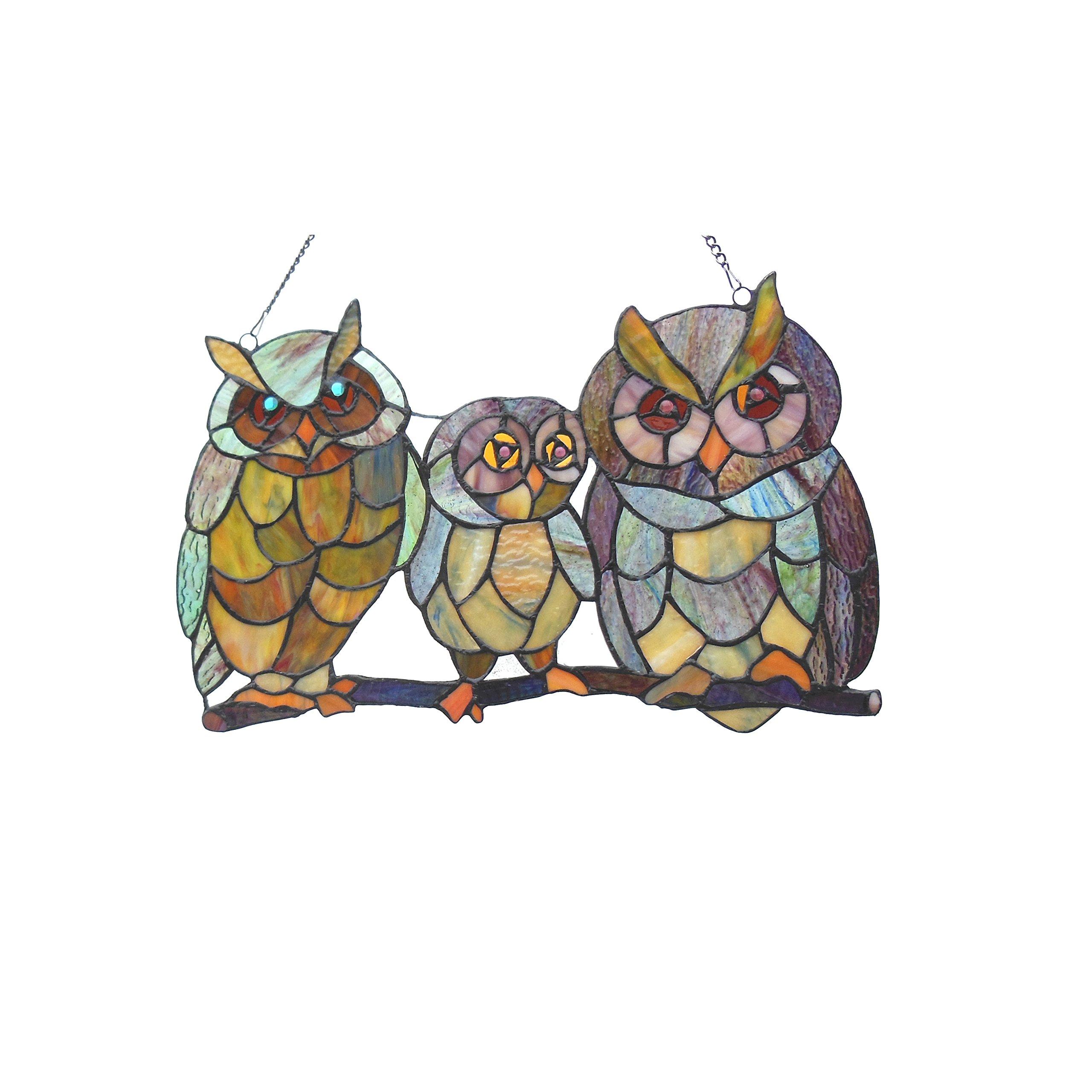Chloe Lighting Ollie Tiffany-Glass Owls Family Window Panel 11X17