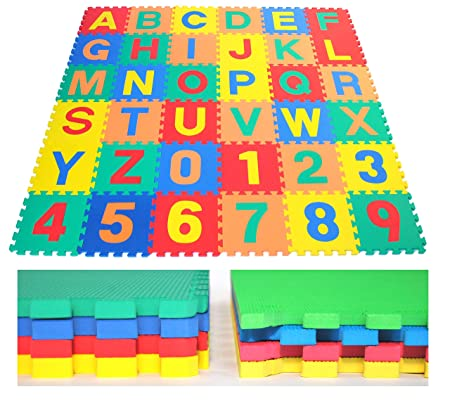 EWONDERWORLD Premium Extra Thick Non-Toxic w Safety Test Reports Waterproof Interlocking Alphabet Letters Counting Numbers ABC 123 A-Z, 0-9 Kids Puzzle Foam Floor Play Mats 36-Piece 12 x 12