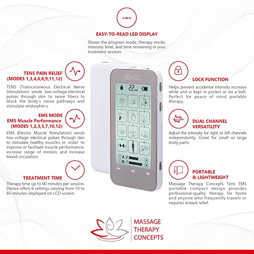63202ea969 Amazon.com  TENS Unit and EMS Combination Muscle Stimulator with 2  Channels