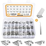 VIGRUE 1230 Pieces M2 M3 M4 M5 Flat Head Socket Cap Screws 304 Stainless Steel Cap Bolts Nuts Washers Assortment Kit with 4Pc