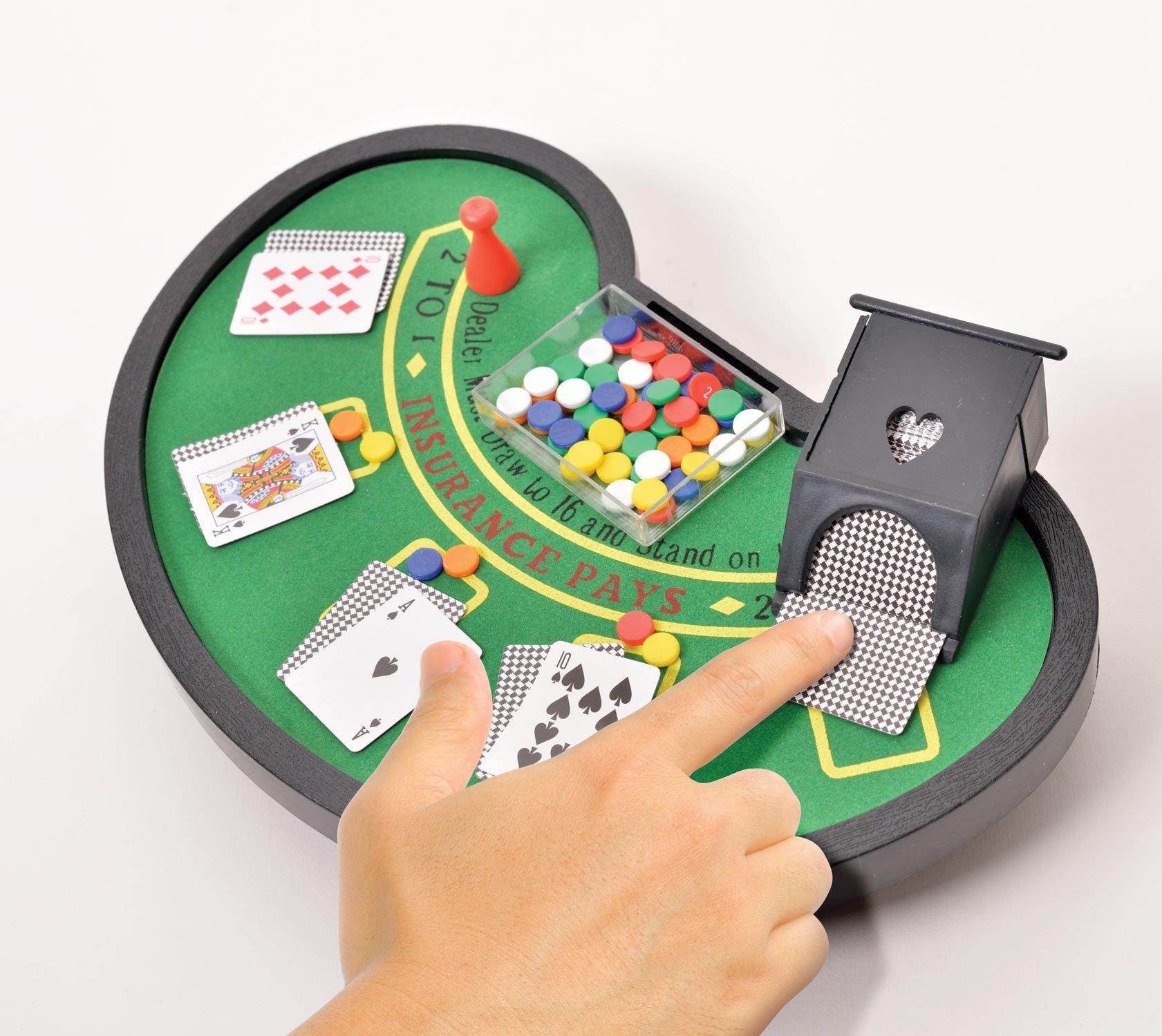 Desktop Miniature Blackjack Table Set With Mini Card Deck