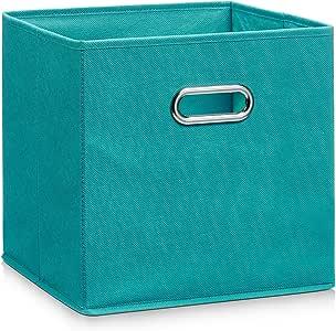Zeller 14138 - Caja de almacenaje de tela, plegable, 28 x 28 x 28 cm, color petróleo: Amazon.es: Hogar