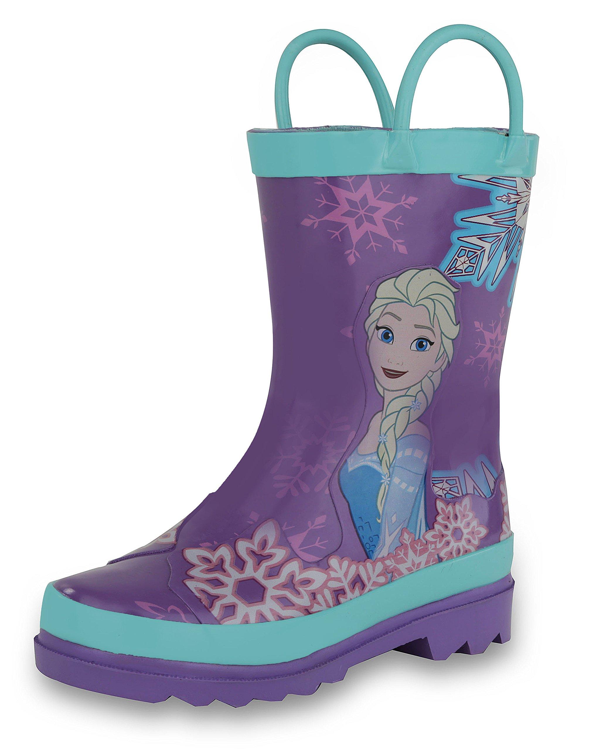Disney Frozen Girls Anna and Elsa Pink Rain Boots - Size 1 Little Kid