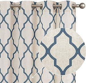 jinchan Moroccan Tile Print Curtains for Living Room Quatrefoil Flax Linen Blend Textured Geometry Lattice Grommet Window Treatment Set for Bedroom 50
