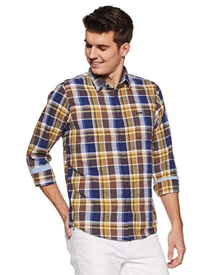 28e49891c0 Pepe Jeans Men s Checkered Regular Fit Casual Shirt (PM305631 Gold S)