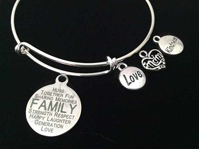 Amazon Com Mom Love Kindness Family Expandable Charm Bracelet