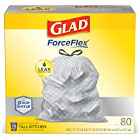 Glad Tall Kitchen Drawstring Trash Bags – ForceFlexPlus 13 Gallon White Trash Bag, OdorShield – 80 Count (Packaging May Vary)