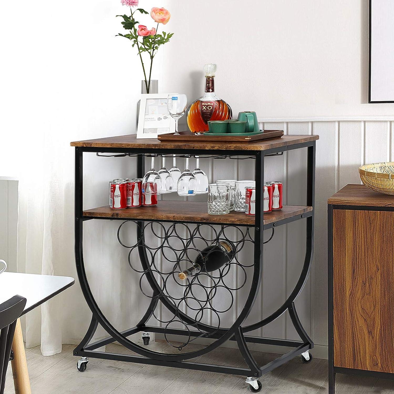 Home Bar Wine Cabinet Serving Cart - Industrial Wine Rack Side Table with Wheel Casters Vintage Black Coated Paint Wood Top Large (Black-Wood, Mid U-Shape Rolling)