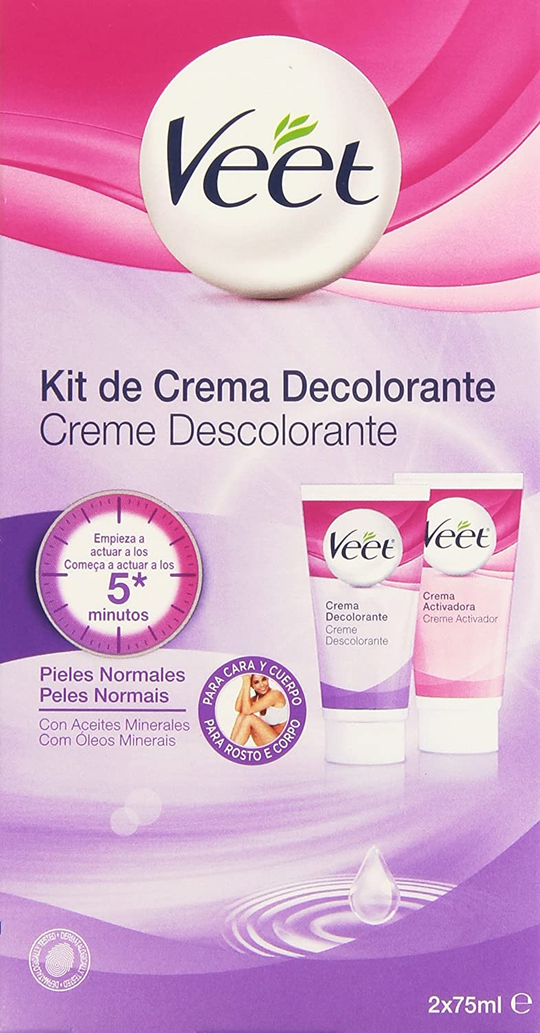 Veet - Kit de Crema Decolorante - Pieles Normales - 2 x 75 ml