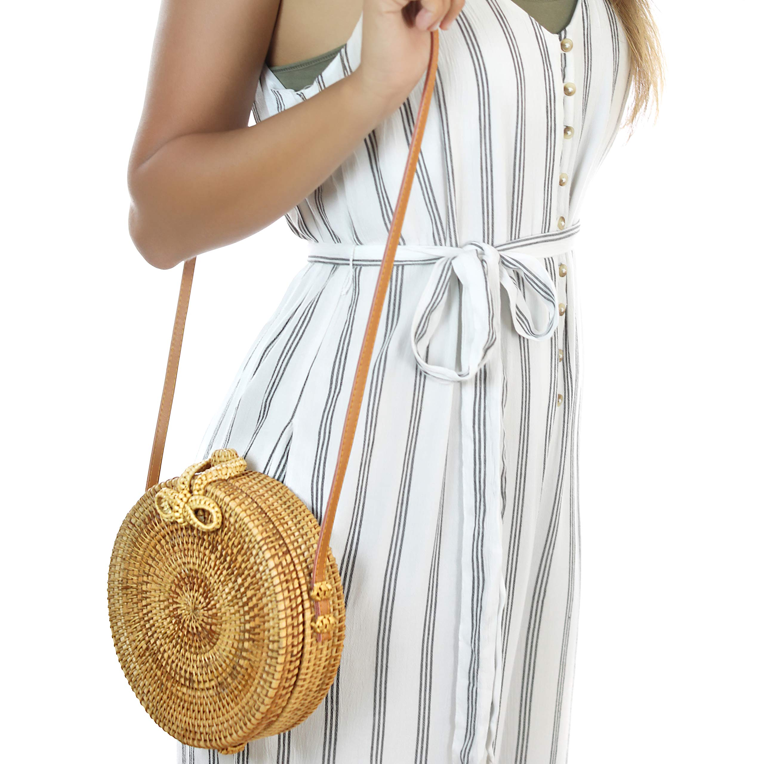 RATTAN NATURALS Handwoven Round Rattan Crossbody Bag| DELUXE EDITION | Round Straw Bag for Women | Genuine 100% Leather Shoulder straps | Straw purse For Women | Boho bag | Straw Handbag for Women by Rattan Naturals (Image #6)