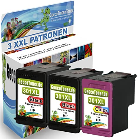 Alaskaprint 3x Cartucho de tinta Refilled HP 301 XL Reemplazo para ...